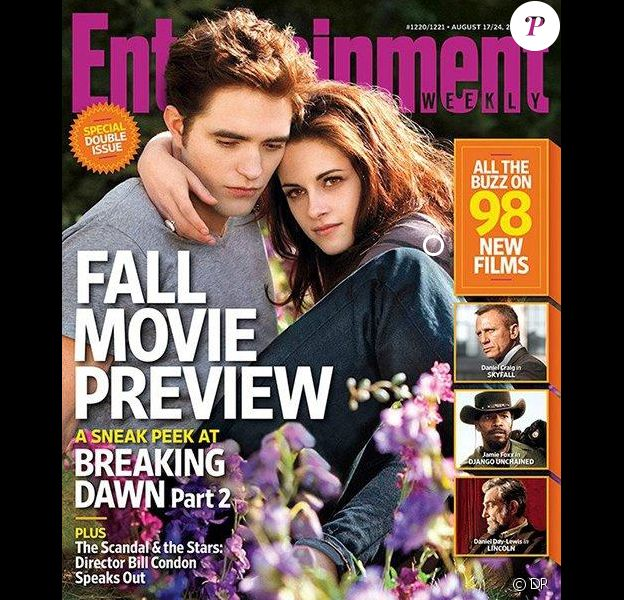 Kristen Stewart et Robert Pattinson en couverture d'Entertainment Weekly. Août 2012.