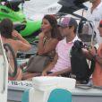 Cesc Fabregas (FC Barcelone) et sa somptueuse compagne Daniella Semaan en vacances à Ibiza le 12 août 2012.