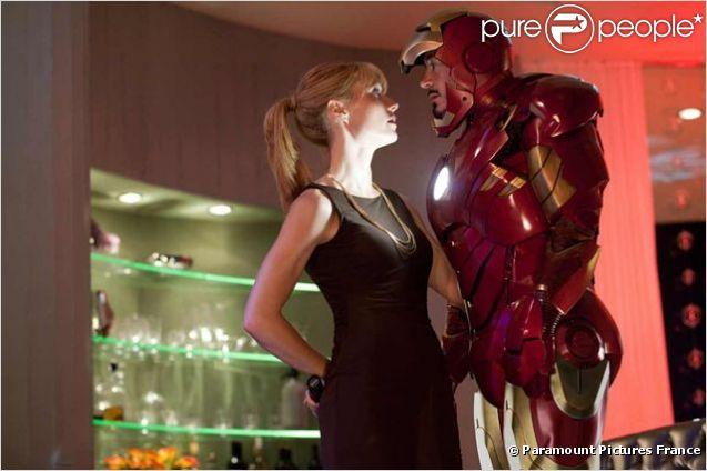 Robert Downey Jr. et Gwyneth Paltrow dans  Iron Man 2 , 2010.