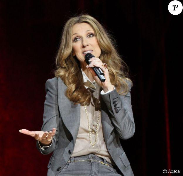 Céline Dion en conférence de presse à Las Vegas, le 15 mars 2011.