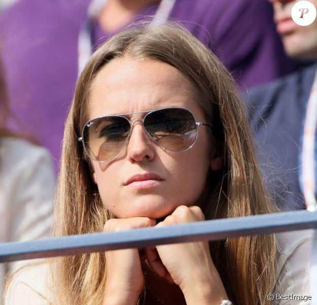 Kim Sears, spectatrice anxieuse lors du premier match de son homme Andy Murray lors de l'US Open au Billie Jean National Tennis Center à Flushing Meadows près de New York le 27 août 2012