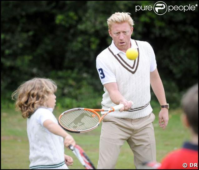 Boris Becker avec son fils Elias, à la Ralph Lauren Wimbledon Garden Party, le 21/06/08