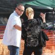 Heidi Klum, à la célèbre ferme aux citrouilles de 'Mr. Bones Pumpkin Patch', s'amuse avec ses enfants Leni, Henry, Johan, Lou et son compagnon Martin Kristen, à West Hollywood le 6 Octobre 2012.