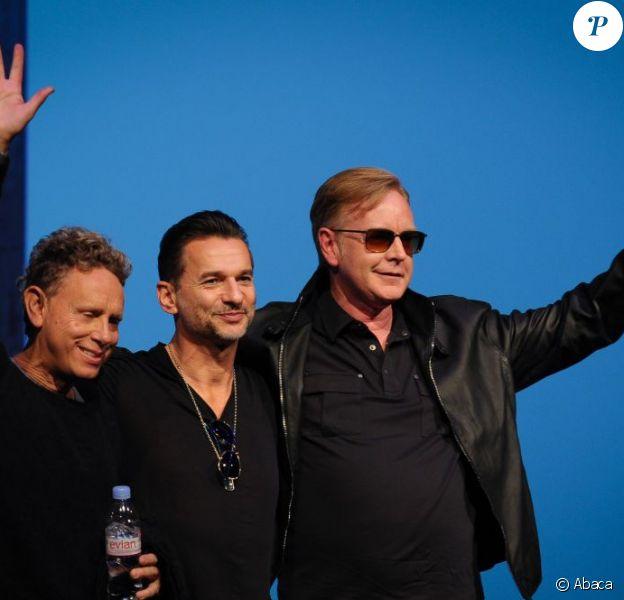 Martin Gore, Dave Gahan et Andy Fletcher de Depeche Mode en conférence de presse à Paris, le 23 octobre 2012.