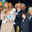 Céline Dion, entourée de Réné Angelil, Nelson, Eddy et René-Charles, prépare son spectacle de Las Vegas le 16 février 2011.
