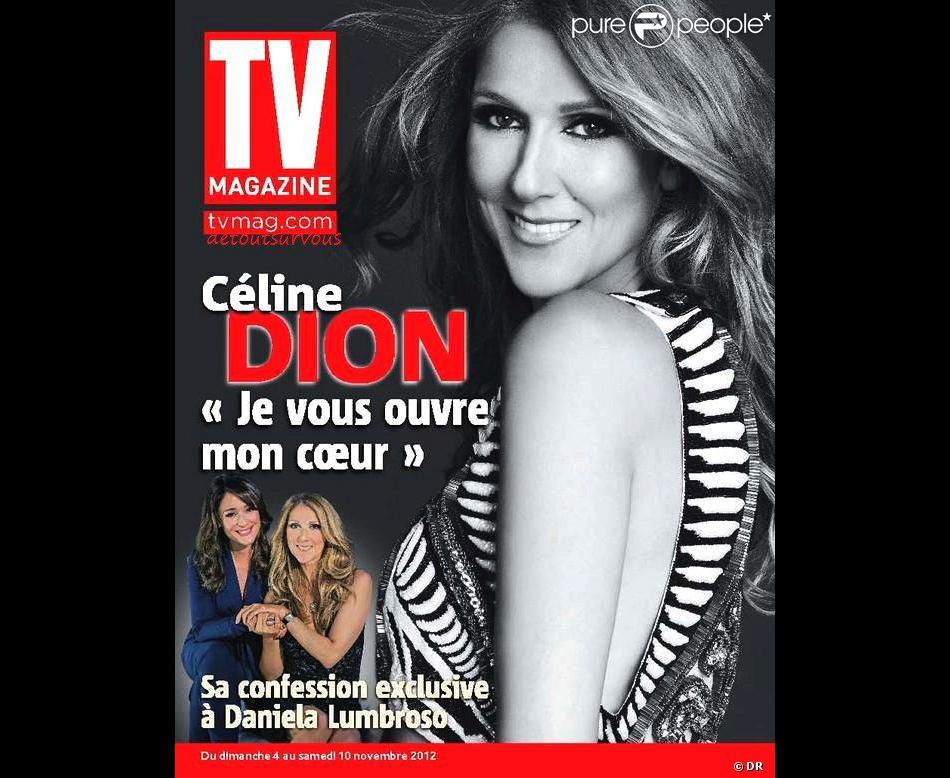 Céline Dion dans TV Magazine en kiosques depuis le 2 novembre 2012.