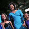 Sasha et Malia Obama à Denver en 2008 lors de la campagne électorale de leur père Barack Obama