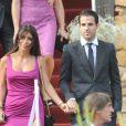 Cesc Fabregas et Daniella Seeman lors du mariage d'Andrès Iniesta et Anna Ortiz à Tarragone le 8 juillet 2012