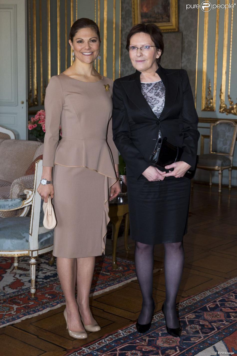 La princesse Victoria de Suede recevait le 13 novembre 2012 Ewa Kopacz, présidente de la Diète polonaise (chambre basse du Parlement), au palais royal Drottningholm à Stockholm.