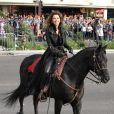 Shania Twain sur sa monture, pour annoncer son retour sur scène au Caesars Palace de Las Vegas le 14 novembre 2012.