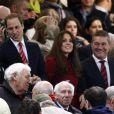 Le prince William et Kate Middleton, duc et duchesse de Cambridge, au Millennium Stadium de Cardiff le 24 novembre 2012 pour le test-match Pays de Galles-Nouvelle-Zélande (10-33). William et Catherine rencontraient à cette occasion des bénévoles et des bénéficiaires du Welsh Charitable Rugby Trust, dont le prince est parrain.