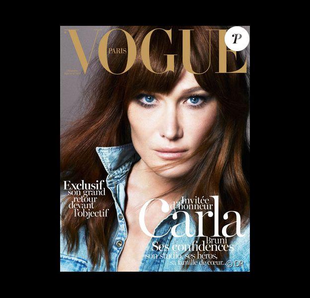 Carla Bruni-Sarkozy en couverture du magazine Vogue Paris, en kiosques le 3 décembre 2012.