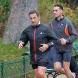 Nicolas Sarkozy fait son footing au Parc Monceau à Paris le 28 novembre 2012.