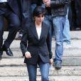 Rachida Dati aux obsèques de Thierry Roland en le 21 juin 2012 à Paris.