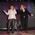 Michèle Bernier et Peter Savelli lors d'un spectacle avec Michèle Bernier au profit de l'association 'Meghanora' au théâtre la nouvelle Eve à Paris le 10 Decembre 2012.