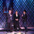 Michèle Bernier, Alex Goude et Luis Fernandez lors d'un spectacle avec Michèle Bernier au profit de l'association 'Meghanora' au théâtre la nouvelle Eve à Paris le 10 Decembre 2012.