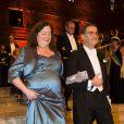 Serge Haroche et Lynn Lefkowitz lors du dîner de gala donné à l'Hôtel de Ville de Stockholm en l'honneur des lauréats des prix Nobel, le 10 décembre 2012.