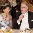 La reine Silvia de Suede et Marcus Storch pendant le dîner de gala donné à l'Hôtel de Ville de Stockholm en l'honneur des lauréats des prix Nobel, le 10 décembre 2012.