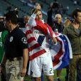 David Beckham fait ses adieux à son club des LA Galaxy après leur victoire à Carson, le 1er décembre 2012.