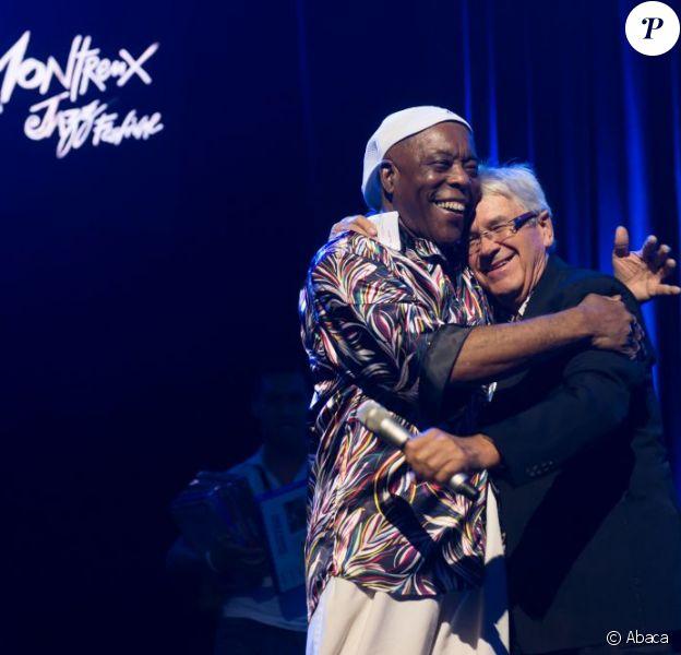Claude Nobs et Buddy Guy à Montreux le 7 juillet 2012.
