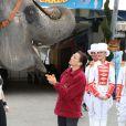 En véritable enfant de la balle d'adoption, son Altesse bichonne un éléphant. La princesse Stéphanie de Monaco posait entourée d'artistes pour annoncer le 15 janvier 2012 la 37e édition du Festival international du cirque de Monte-Carlo, à Monaco.