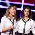 Chimène Badi et Shy'm lors de l'enregistrement du prime  Samedi soir on chante , diffusé le 19 janvier 2013 sur TF1