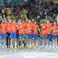 L'équipe d'Espagne de handball savoure son deuxième titre mondial, le 27 janvier 2013 à Barcelone.