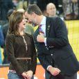 Le prince Felipe d'Espagne et la princesse Mary de Danemark, très amis, ont suivi ensemble la finale du championnat du monde de handball 2013, au Palau San Jordi, à Barcelone, le 27 janvier 2013, marquée par la victoire écrasante de l'Espagne contre le Danemark, 35-19.