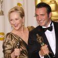 """""""Jean Dujardin au côté de Meryl Streep à la 84e cérémonie des Ocars à Los Angeles, le 26 février 2012."""""""