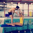 Laury Thilleman et son coach pour Splash, le grand plongeon sur TF1 - photo postée sur le Twitter de Laury
