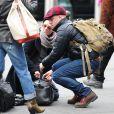 Exclu - Robin Wright en compagnie de son nouveau chéri, l'acteur Ben Foster à la gare de New York, le 30 janvier 2013.