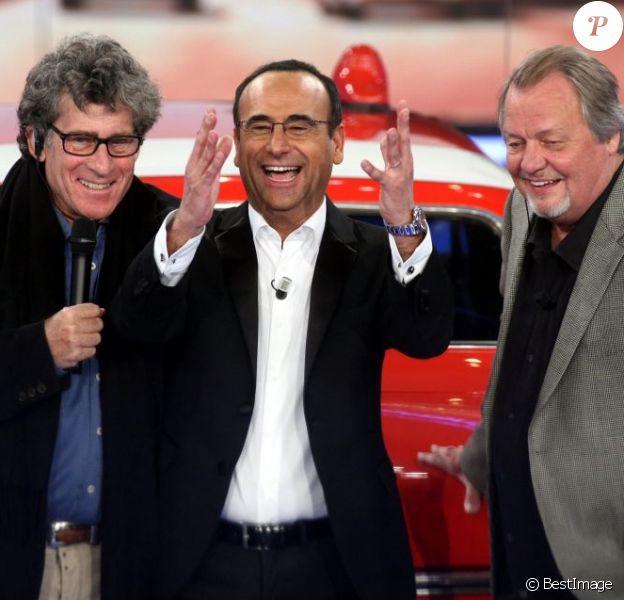 Paul Michael Glaser (Starsky), Carlo Conti, et David Soul (Hutch) à Rome le 9 Fevrier 2013.