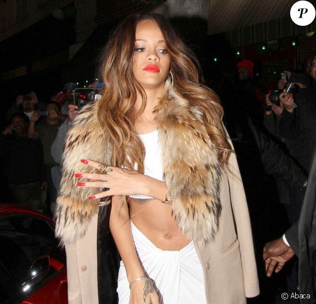 Rihanna arrive au Supper Club avec Chris Brown après les Grammy Awards, le 10 février 2013 à Hollywood.
