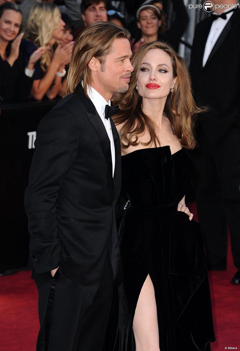 Brad Pitt et Angelina Jolie lors de la cérémonie des Oscars 2012