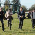 Exclusif -  Lucien Jean-Baptiste, Alain Chabat, Edouard Baer, Philippe Duquesne sur le tournage de Turf.