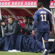 David Beckham lors du match perdu par le Paris Saint-Germain (1-0) face à Reims le 2 mars 2013, à Reims