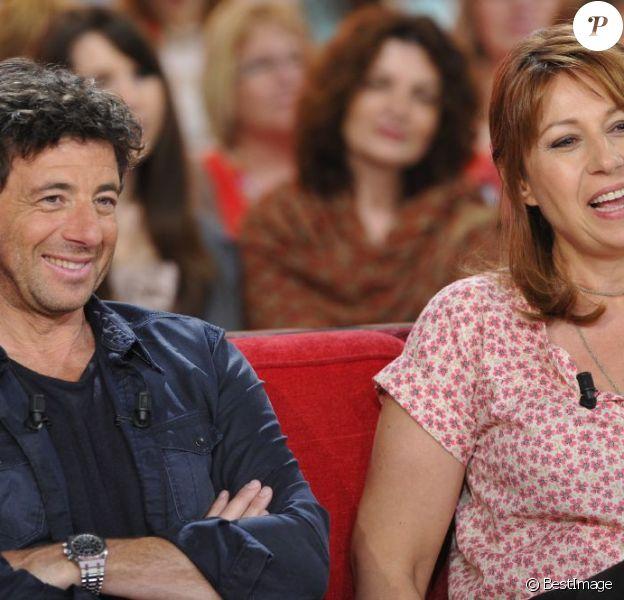 Patrick Bruel et Valérie Benguigui à l'enregistrement de l'émission Vivement Dimanche à Paris, le 20 mars 2013. Diffusion prévue le 24 mars 2013.