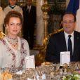 Dîner d'Etat au Palais Royal de Casablanca avec François Hollande, Valérie Trierweiler, le roi Mohammed VI et la princesse Lalla Salma le 3 avril 2013.