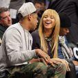 Beyoncé Knowles et Jay-Z lors de la rencontre entre les Brooklyn Nets et les New York Knicks au Barclays Center. Brooklyn, le 26 novembre 2013.