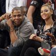 Jay-Z et Beyonce Knowles au premier d'un match de basket au Barclays Center à Brooklyn. Novembre 2012.