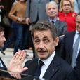 Nicolas Sarkozyà Neuilly-sur-Seine le 16 avril 2013 pour le30e anniversaire de la disparition d'Achille Peretti maire de la ville de 1947 à 1983.