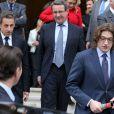 Nicolas Sarkozy, Jean-Christophe Fromantin et Jean Sarkozyà Neuilly-sur-Seine le 16 avril 2013 pour le30e anniversaire de la disparition d'Achille Peretti maire de la ville de 1947 à 1983.