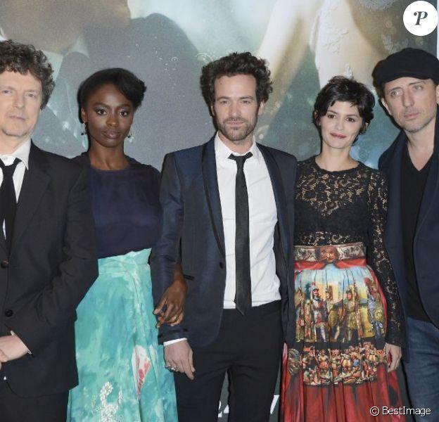 Michel Gondry, Aissa Maiga, Romain Duris, Audrey Tautou et Gad Elmaleh - Avant-première du film L'Écume des jours à l'UGC Normandie à Paris, le 19 avril 2013.