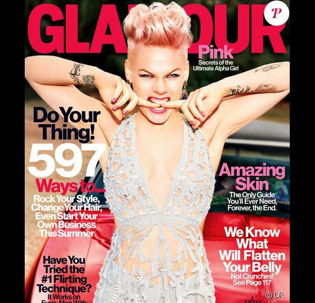 Pink fait la couverture du magazine Glamour US pour le mois de juin 2013.