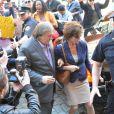 GérardDepardieu et Jacqueline Bisset pendant le tournage de The June Project à New York, le 25 avril 2013.