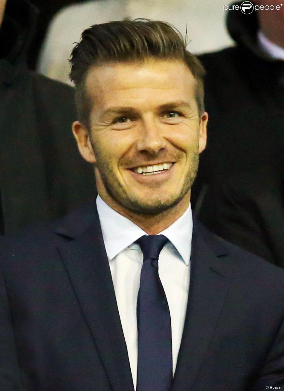 David Beckham au stade Mestalla de Valence le 12 février 2013 lors du match entre le PSG et Valence en huitième de finale de la Ligue des Champions