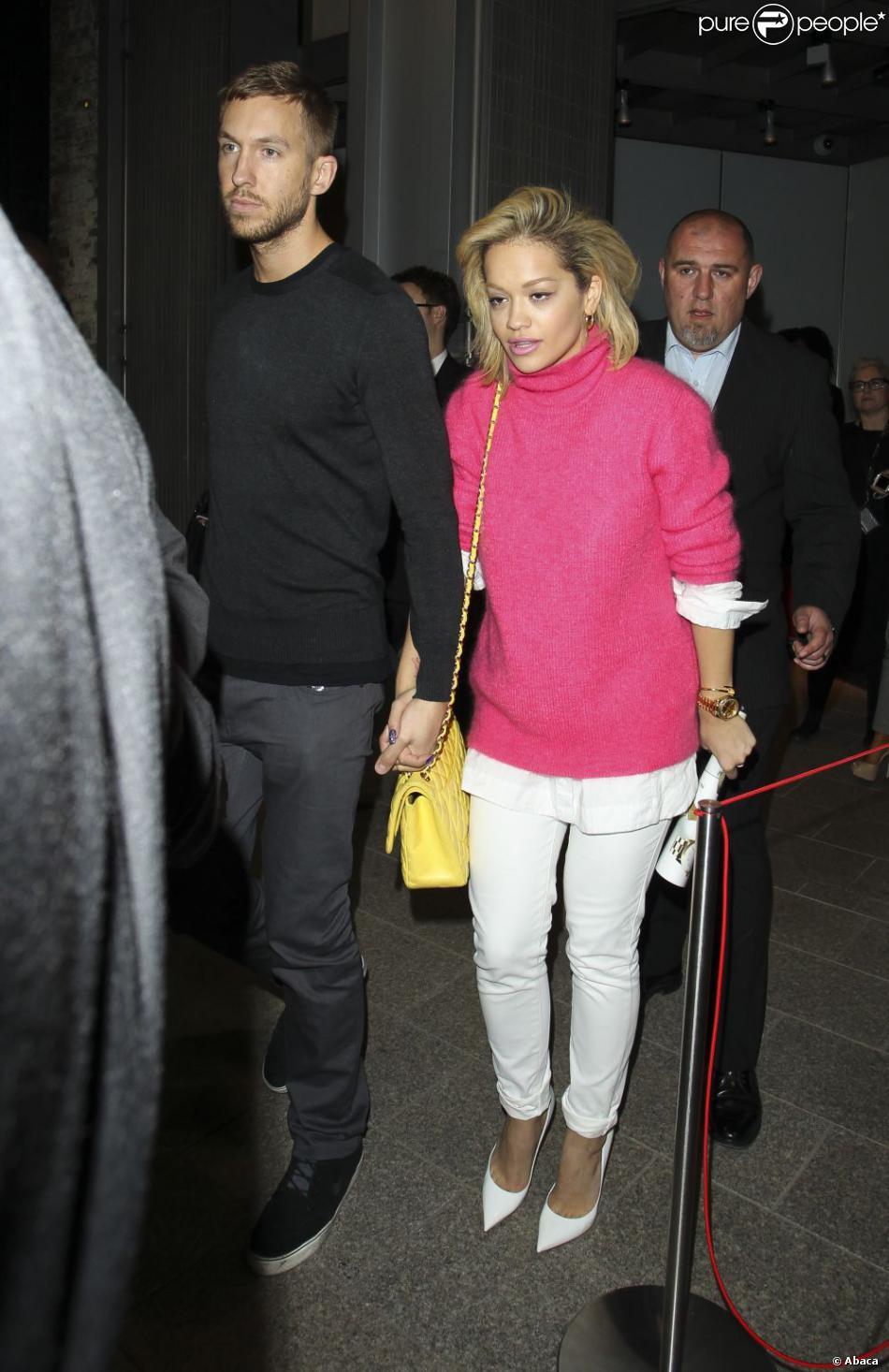 Rita Ora et Calvin Harris arrivent au building The Shard pour une écoute V.I.P de l'album Random Access Memories des Daft Punk. Londres, le 13 mai 2013.