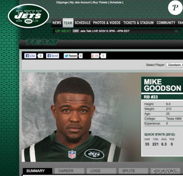 Mike Goodson, nouvelle recrue des New York Jets, a été arrêté le 17 mai 2013 en possession de marijuana et d'une arme chargée.