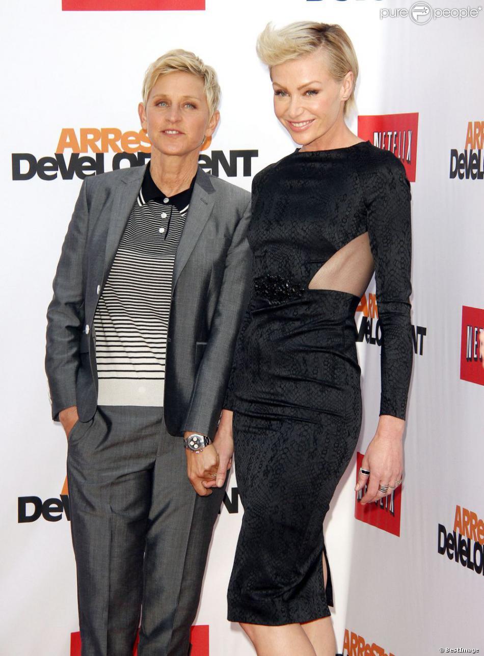 Ellen DeGeneres et Portia de Rossi à la présentation par Netflix de la saison 4 de Arrested Development à Hollywood, le 29 avril 2013.