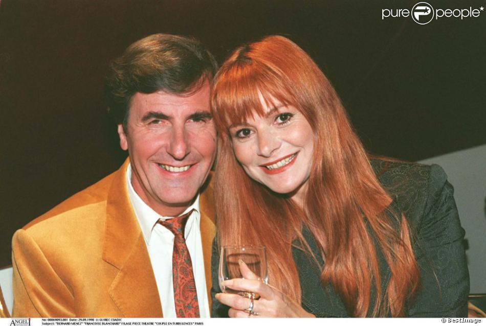 Bernard Menez et Françoise Blanchard lors du filage de la pièce Couple en turbulences le 29 septembre 1998